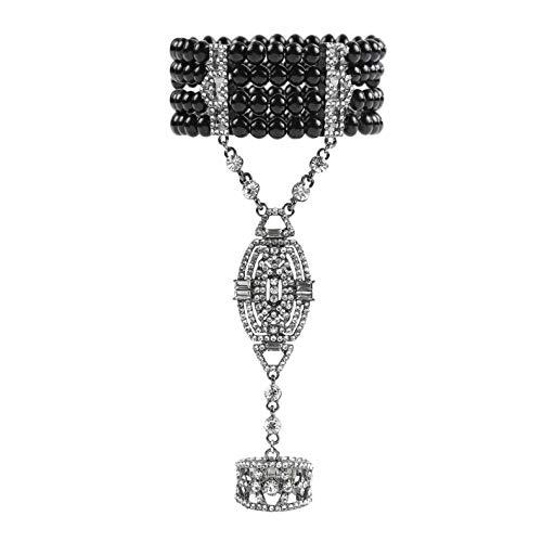 - Metme 1920s Gatsby Accessories Imitation Pearls Rhinestone Bracelet Adjustable Ring Set