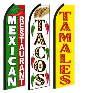 Mexican Restaurant  Taco  Tamales Standard Size Swooper Feather Flag Sign Pk Of 3