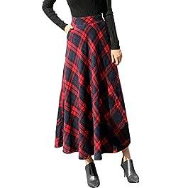 JIANGfu Women High Elastic Waist Plaid Print Maxi A-line Skirt Ladies Casual Autumn Winter Warm Flare Long Ankle Skirt Dress