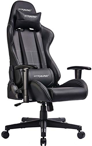 GTRACING Gaming Chair Racing Office Computer Game Chair Ergonomic Backrest and Seat Height Adjustment Recliner Swivel Rocker with Headrest and Lumbar Pillow E-Sports Chair Black (Best Big And Tall Gaming Chair)