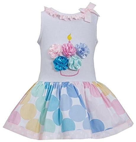 Little Girls 2T-6X Pink Multicolor Bias Dot Print Birthday Cupcake Dress, Pink, 2T, TDLG - Pink Cupcake Print