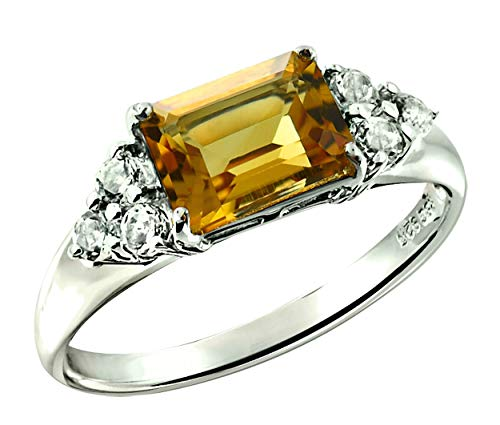 (RB Gems Sterling Silver 925 Ring Genuine Gemstone Emerald-Cut 2.5 Cts, Rhodium-Plated Finish (10, citrine) )