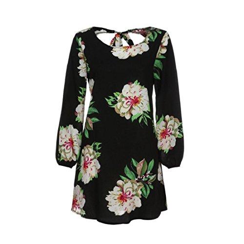 PAOLIAN Kleider Damen Langarm Minikleid Retro Elegant Blumen ...