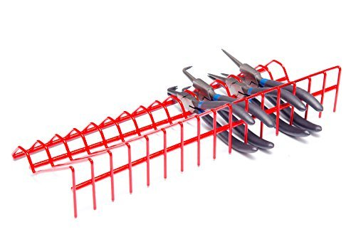 Olsa Tools Plier Rack | Pliers Organizer for Tool Box Drawer Storage | Plier Holder Holds 16 Pliers Red