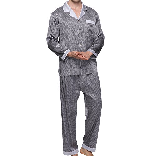Chesslyre Mulberry Silk Spandex Satin Pajamas 2 Piece Sleep Set by Chesslyre