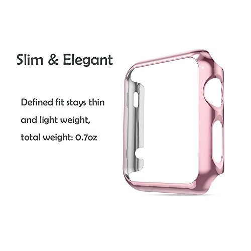 Apple Watch 42mm Tempered Glass SCREEN PROTECTOR CASE,2win2buy Ultra Thin 9H Hardness [Full Coverage] Electroplate Screen Protector with Metal Bumper ROSEGOLD Photo #3