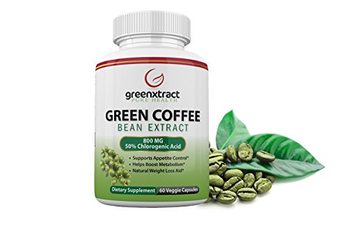 Green Coffee Bean Extract 100% Pure – 60 Veggies Capsules – Max Strength Natural GCA Antioxidant Cleanse for Weight Loss – 800mg with 50% Chlorogenic Acid per Pill – Burns Fat and Sugar, Made in USA For Sale