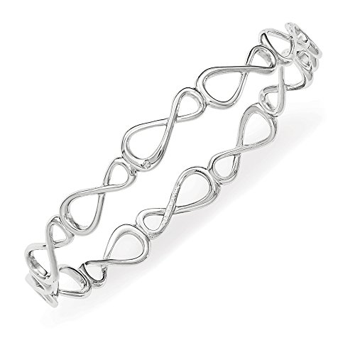 Rhodium Plated Sterling Silver Diamond Infinity Bangle Bracelet (.01 Ct, H-I Color, I2 (Diamond Bow Bangle Bracelet)