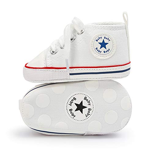 Sawimlgy Infant Baby Girls Boys Soft Sole Star Canvas Shoes Sneakers Denim Shoes Newborn First Walkers Crib Shoes High Top Booties