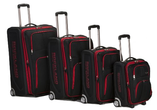 Rockland Luggage Varsity Polo Equipment 4 Piece Luggage Set, Black, One Size by Rockland