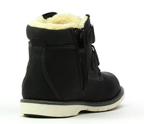 Linshi B2725 Jungen Trendige Herbst-Winter-Stiefel, Warm Gefüttert, Rutschfeste Schnee-Schuhe mit Reißverschluß (EU 26-31) Schwarz