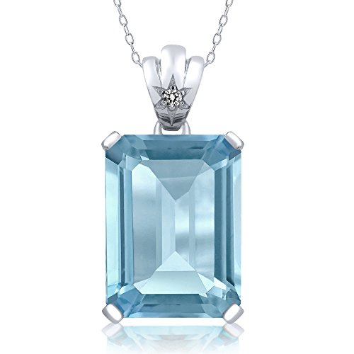 15.03 Ct Emerald Cut Sky Blue Topaz & White Diamond Sterling Silver Pendant Necklace With 18 Inch Silver Chain - Topaz Diamond Pendant Necklace