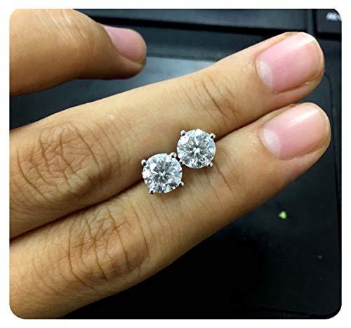 2 Ct Round Brilliant Cut VVS1 Diamond Stud Earrings Solid 18K White Gold Over For Women