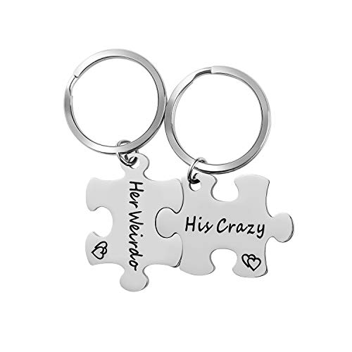 WIGERLON Couples Keychains for Boyfriend and Girlfriend(Husband and Wife) 2 Matching Puzzle Pieces Engraved:His Crazy Her Weirdo - Great Gifts for Him and Her on Valentine's Day and Birthday