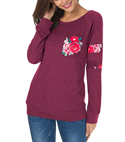 ZEAMO Women's Long Sleeve Crewneck Casual loose Print Pullover T-Shirt Tops (Large, Wine Red)