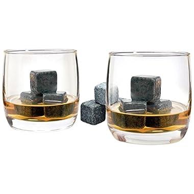 Luminarc Arc International Bar Craft on The Rocks 10 oz Whiskey Glasses (Set of 4) & 1 Bag of 12 Whiskey Stones, Clear