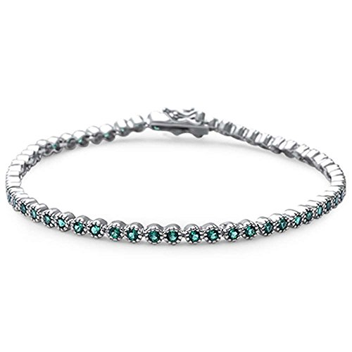 Oxford Diamond Co Elegant 7 Round Simulated Emerald .925 Sterling Silver Tennis Bracelet