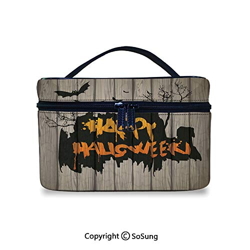 Halloween Decorations Toiletry Bag Portable Happy Graffiti Style Lettering on Rustic Wooden Fence Scary Evil ArtworkWaterproof Toiletry Bag,9.8x7.1x5.9inch,Multi