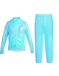 EkarLam Women's Hoody Waterproof Cycling Rash Guard Jacket Pants Raincoat Suit