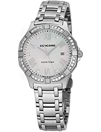 Saratoga Womens Stainless Steel Real Diamond Watch - 31mm Mother of Pearl Face with Second Hand