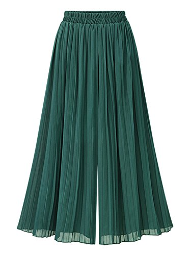 Mesinsefra Women's Summer Chiffon Palazzo Pants Wide Leg Pants Capris Trousers Green 2XL-US (Chiffon Palazzo Pants)