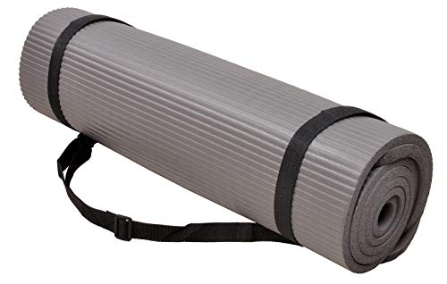 BalanceFrom GoYoga+ All-Purpose 1/2-Inch Extra Thick High Density Anti-Tear Exercise Yoga Mat and Knee Pad with Carrying Strap (Gray)