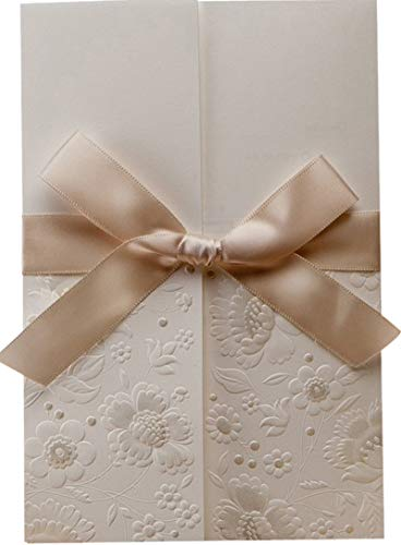 Bhands 1X Elegant Vintage Embossed Tri-fold Wedding Invitations Cards Kit, Invites Cards with Envelope Seal and Ribbon Bowknot Design, for Engagement Party Birthday W1113 (Best Printer For Printing On Cardstock 2019)