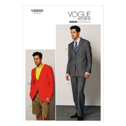 VOGUE PATTERNS V8890 Men's Jacket/Shorts and Pants Sewing Template, Size MUU (34-36-38-40)