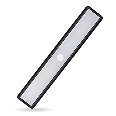 Motion Sensor Cabinet Light Night 850 mAh Battery,YIGER USB Rechargeable 10 LED with Removable Magnet+3M Adhesive ?Hallway/Wardrobe/Washroom/Stairs/Storage Room