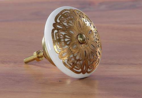 IntradeGlobal Ivory Gold Filigree Ceramic knob s/4