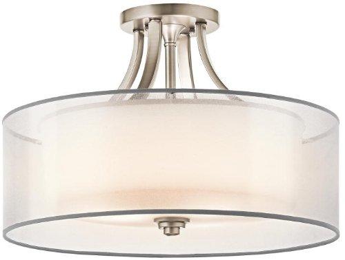 - Kichler 42387AP Lacey Semi-Flush 4-Light, Antique Pewter