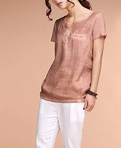 5597739401e01 Sarriben Womens Summer Soft Loose Short Sleeve Linen Shirts Blouse ...