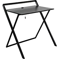 OneSpace Basics No Assembly Folding Desk with Dual USB Charger, Dark Brown/Black