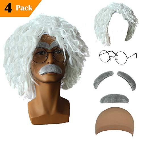 Old Man Mad Scientist Wig Set,Albert Einstien Costume Wig/Ben Benjamin Franklin Bald Cap Wig (Albert Einstien - White) ()