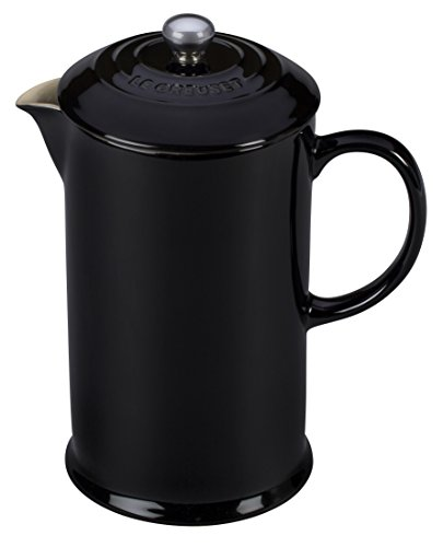 Le Creuset of America Stoneware Petite French Press, 12 oz, Black