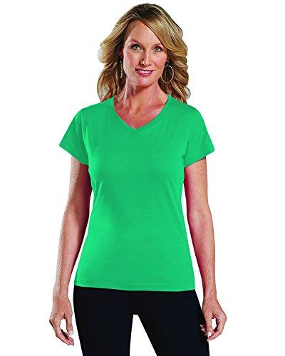 Jersey V-neck Jade - LAT Ladies' 100% Cotton Jersey V-Neck Short Sleeve Tee (Jade, X-Small)