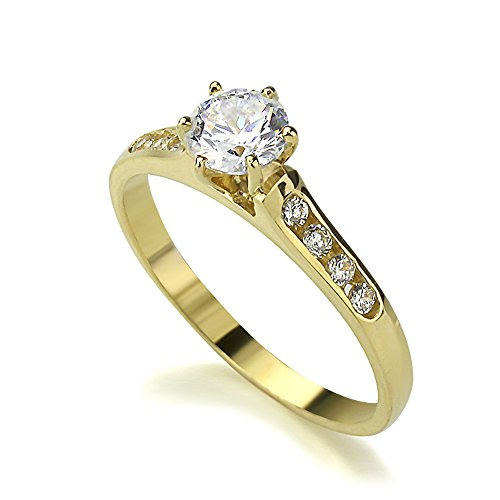 14K Yellow Gold 0.5 Carat Round CZ 6 Prong Solitaire Channel Set Wedding Engagement Ring (Size 5 to 9), 5 ()