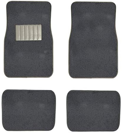 New 4 pc Universal Fit Carpet Car Floor Mats Truck SUV with Hook Backing & Vynl Heel Pad (Charcoal)