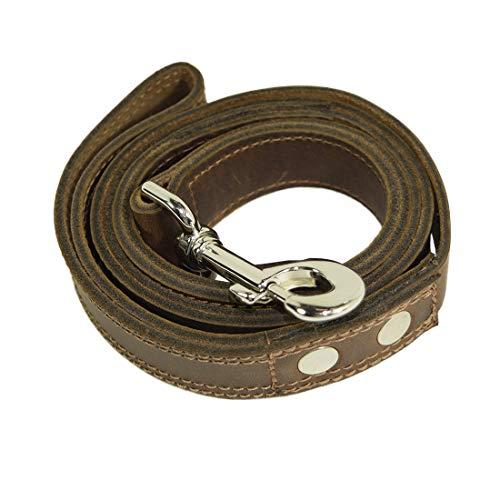 Hide & Drink, Thick Tough Leather Dog Leash (4 feet) / Dogwalker Essentials Handmade Includes 101 Year Warranty :: Bourbon Brown