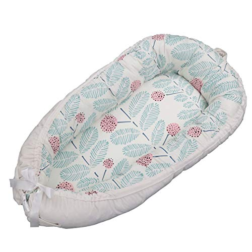 Baby Lounger,Reversible Newborn Co Sleeping Bassinet for Bed - Breathable Comfortable Removable Portable Snuggle Nest Bed for 0-2 Years Old Infant - 100% Organic Cotton (C4) from Plenmor