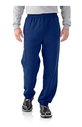 Price comparison product image Fruit of the Loom Men's Elastic Bottom Sweatpants Medium Liberty Blue Heather