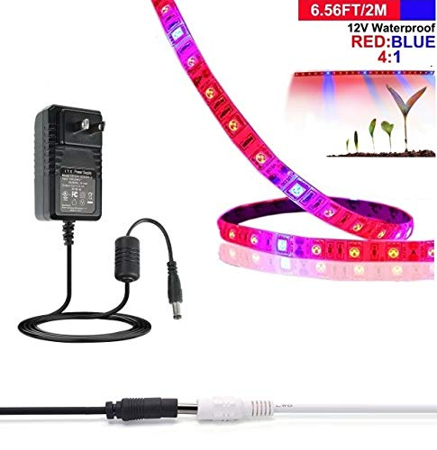 LED Grow Light Strip, Topled Light 6.56ft Plant Strip Light with Power Supply, Full Spectrum SMD 5050 Red Blue 4:1 Rope Light for Aquarium Greenhouse Hydroponic Pant Indoor Grow Light (2M)
