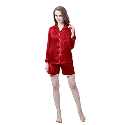 LULUSILK Conjunto de Pijama de Seda 22 Momme de Manga Larga con pantalones cortos Vino Tinto