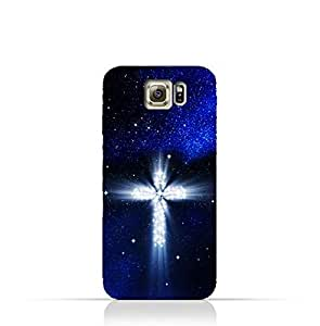 Samsung Galaxy S6 TPU Silicone Protective Case with Christian Cross on a Starry Night Design