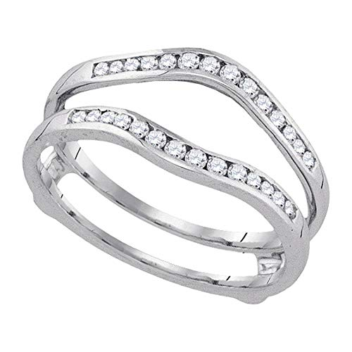 - FB Jewels 14k White Gold Womens Round Diamond Wedding Bridal Enhancer Band Wrap 1.00 Cttw (I1 clarity; H color)
