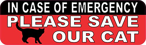 Please Save Animals (10in x 3in In Case Of Emergency Please Save Our Cat Sticker House Sign by StickerTalk)
