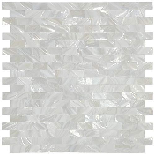 Art3d 6-Pack White MOP Shell Mosaic Tile for Kitchen Backsplashes/Shower Wall, 12