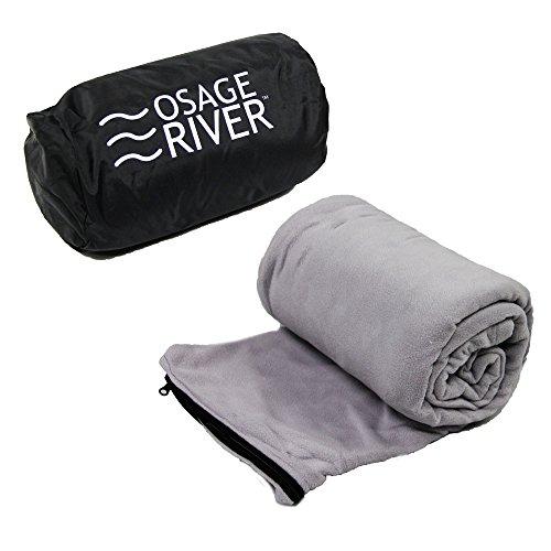 Osage River Microfiber Fleece Zippered Sleeping Bag Liner with Carry Storage Bag