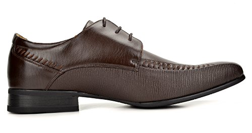 Leather Marc Oxfords 3 Toe dark Shoes Dress Lined Brown Men's Bruno Snipe qEad00T