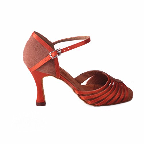 Jig a sandalias Foo Fighters Open-toe Latina Salsa Tango salón de baile zapatos de baile para las mujeres con 8,89cm del talón bronce - marrón